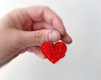 Love Hearts Earrings Red Glitter Statement Earrings Hoops Acrylic Earrings Laser Cut Hoops 25mm by Oscar and Matilda