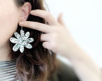 Bridesmaid Statement Silver Earrings Glitter Daisy Flower Earrings Acrylic Earrings Hanging Hook Womens Jewellery Polli - by Oscar & Matilda