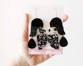 Boho Statement Drop Earrings Black Silver Glitter Acrylic Laser Cut Earrings Big Hoop Acrylic Earrings by Oscar and Matilda