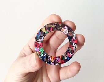 Rainbow Chunky Glitter Statement Acrylic Laser Cut Big Stud Round Donuts Earrings by Oscar and Matilda