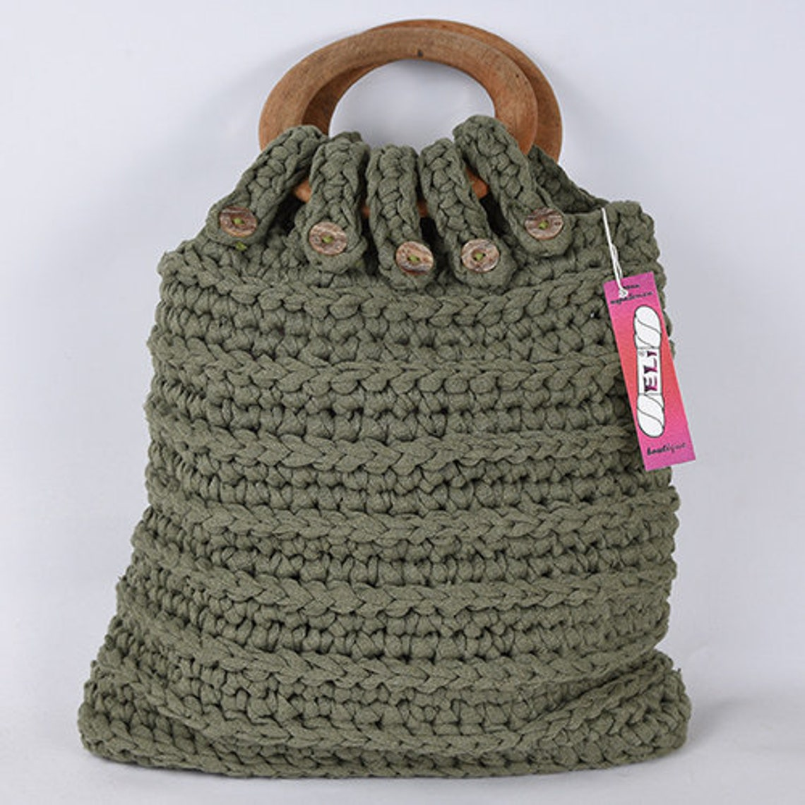 Eco Cotton Military Green Crochet Handbag With Wooden Handles Etsy