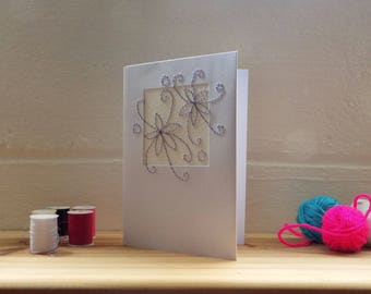 Purple Flower Birthday Card, Greetings card, Thank you card, card for her, Hand Stitched Card