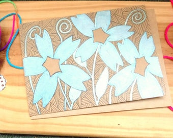 Hand Drawn Floral Birthday Card, Blank Cards with Metalic flowers