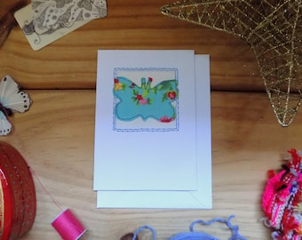 Butterfly Card - Hand Embroidered Greeting Card - Applique - Collage - Stitched Card - Card for Her