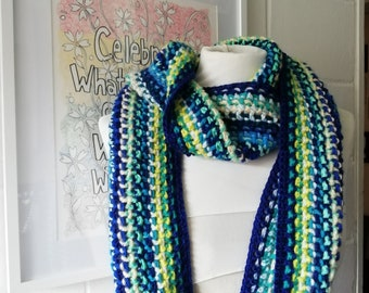 Blue and Green Crochet Scarf, One of a Kind Striped Scarf