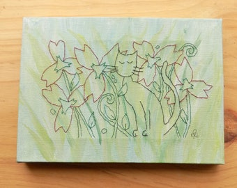 """Stitched Cat Art Painting. """"Stitch the Cat"""" Mixed Media Painting"""