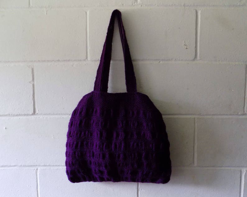 Purple Handbag Hand Knitted Purple Tote Bag.