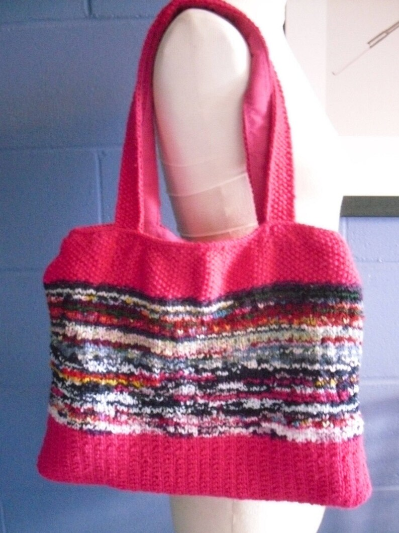 Hand Knitted Tote Bag One of a Kind Bright Pink and Multi Coloured Bright Handbag.