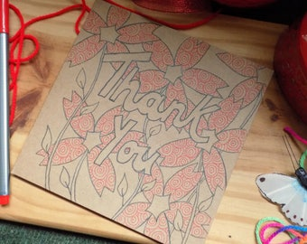 Thank You Card, Flowers Card, Hand Drawn Floral Card, Ink Drawing