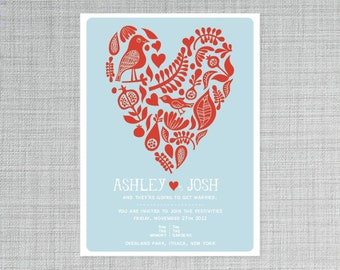 Bright Heart wedding invitation - PRINTABLE - postcard - modern wedding
