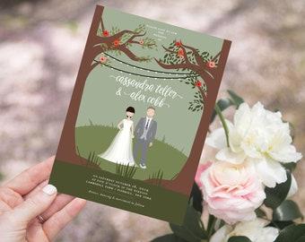 Custom Illustrated Portrait Wedding Invitation Suite - Couple Portrait - Wedding Couple