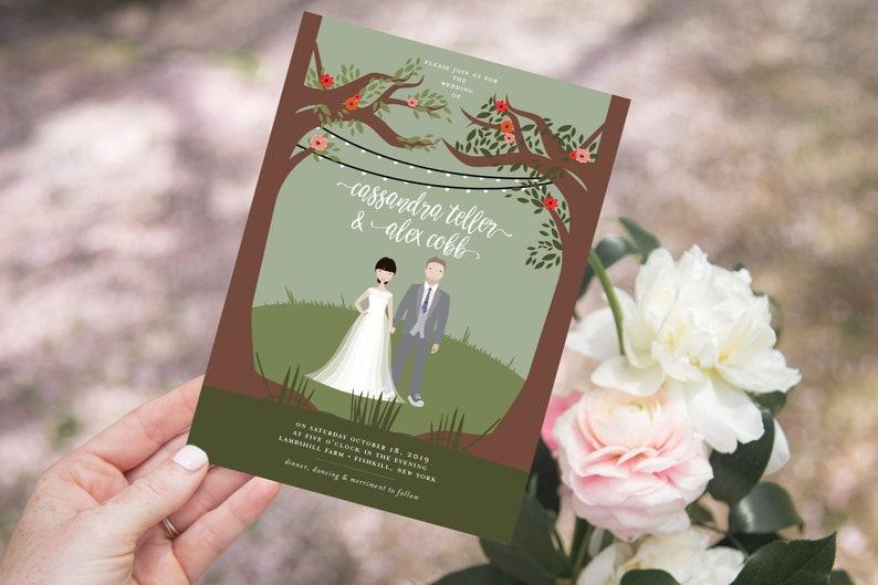 Custom Illustrated Portrait Wedding Invitation Suite  Couple image 0