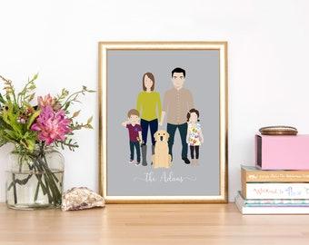 Custom Portrait Illustration   Family Illustration   Family Portrait   Pet Portrait   Wedding Gift   Christmas Gift   Personalized Gift