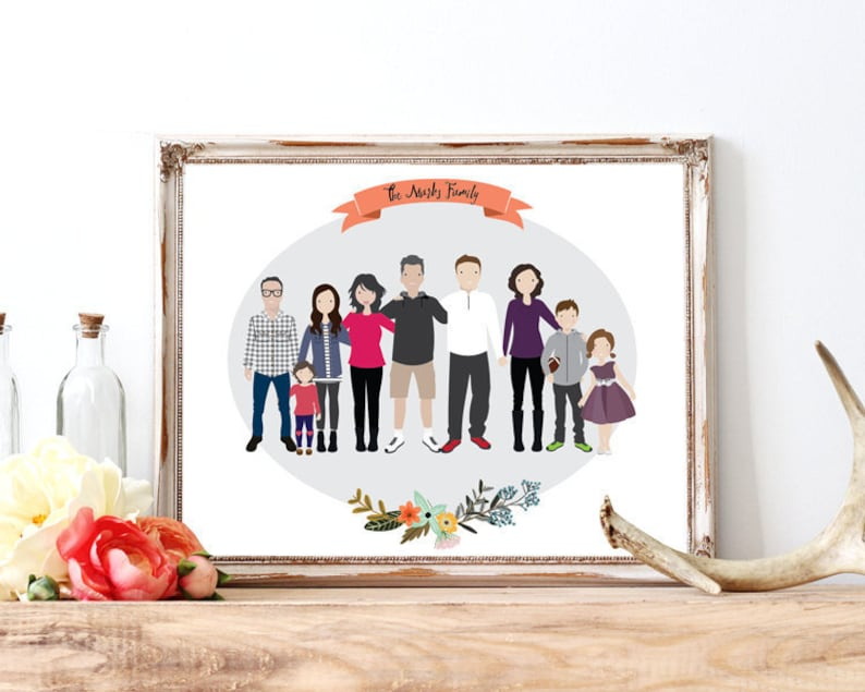 Family portrait illustration pet family illustration from image 0