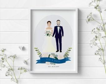 Custom Wedding Portrait Drawing, Personalised Wedding Gift, First Wedding Anniversary Gift, Wedding Keepsake, Bride and Groom Illustration
