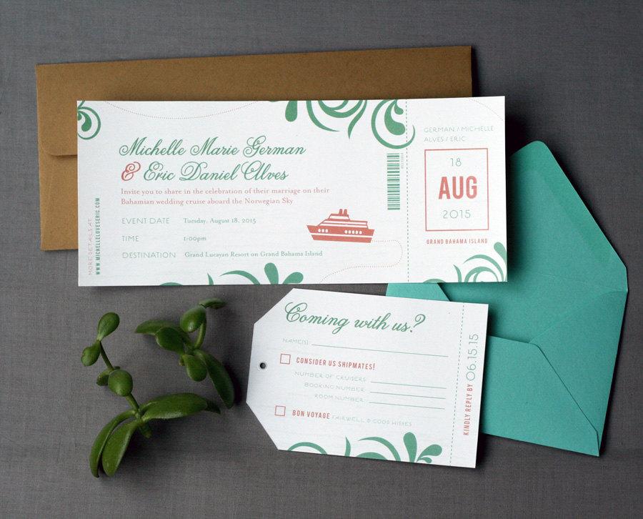 Destination Wedding Invitations Etsy: Destination Wedding Cruise Boarding Pass Wedding