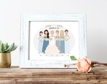 Bridesmaid Gift | Illustrated Bridesmaids Wedding Portrait | Bridal Party Portrait | Personalized Gift | Custom Illustration