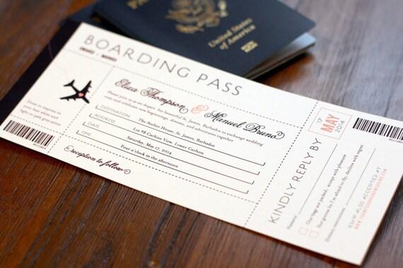 Boarding Pass Wedding Invitation Destination Wedding Etsy