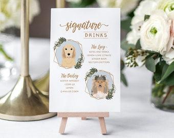 Signature Cocktail Sign with Pets for Wedding Bar - Signature Drinks - Bar Menu - Pet Portrait