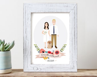 Wedding portrait of couple custom couple illustration personalized portrait family illustration with pets wedding gift wedding portrait
