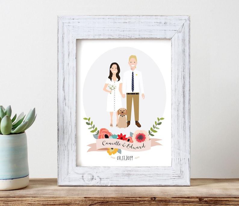 Wedding portrait of couple custom couple illustration image 0