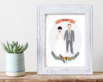 Custom portrait wedding illustration couple wall art couple portrait custom illustration couple illustration custom family portrait
