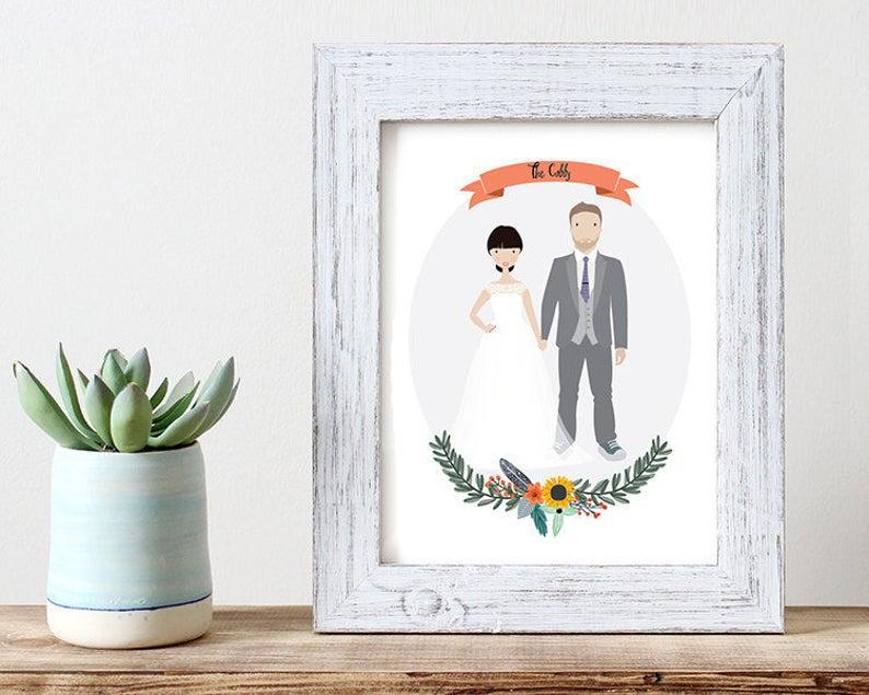 Custom portrait wedding illustration couple wall art couple image 0