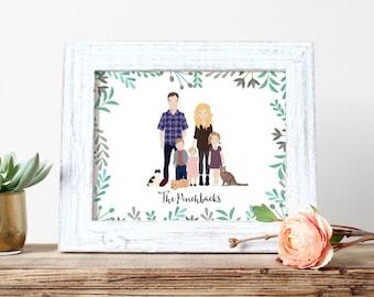 Custom Portrait Illustration | Couple Illustration | Family Portrait | Pet Portrait | Engagement Gift | Christmas Gift | Personalized Gift