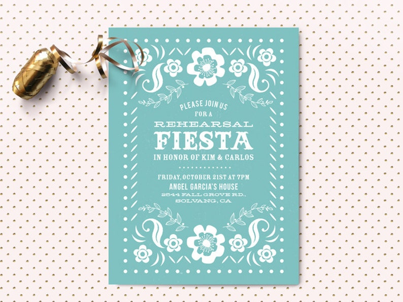 Fiesta Rehearsal Dinner Invitation  Papel Picado  Mexican image 0