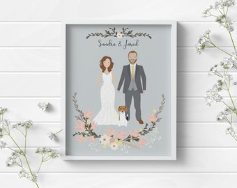 Custom portrait of couple custom couple illustration personalized portrait family illustration with pets wedding gift wedding portrait