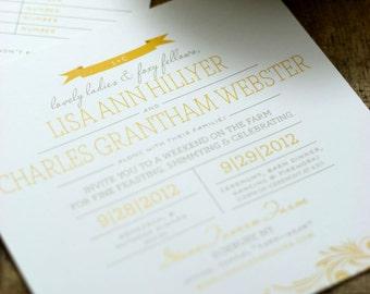 St. Marie Wedding Invitation - PRINTABLE - banner - modern wedding - flags - flourishes