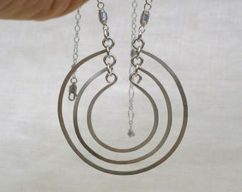 Hammered Silver Open Circles Necklace Round Sterling Silver Pendant Silver Rings Necklace Three Circles Necklace Silver Statement