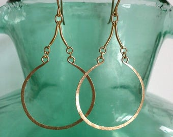Long Gold Teardrop Earrings Open Circle Earrings 14k Gold Fill Hoop Dangles Arabesque Earrings Hammered Wire Jewelry