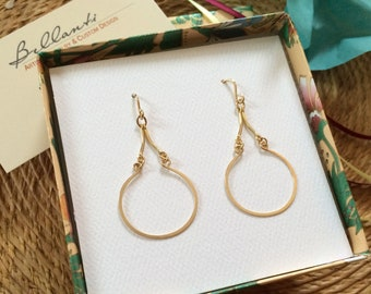 Gold Arabesque Teardrop Earrings 14kt Gold Fill Hoop Dangles Open Circle Earrings Hammered Wire Jewelry Artisan Earrings