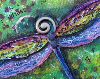 DRAGONFLY, DARING ADVENTURE, original painting, mixed media original painting, Wings, Purple, Green, Collage Art, Nature, Insect, Butterfly