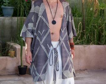100% Cotton Kimono Shirt Natural Dye for Men