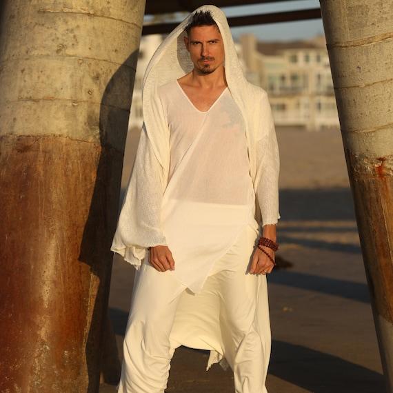 Soft and Cozy Hooded Poncho, Meditation Shirt, Knitted Poncho, White Poncho, Handmade Poncho