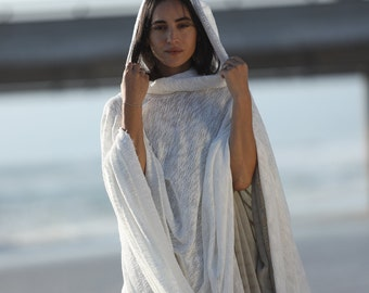 White Hooded Poncho, White Hooded Cape, Cowl Neck Hoodie, White Knit Tunic, Off White Ceremony Cover Up