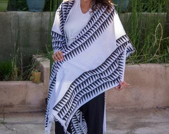 100% Cotton Handblock Printed Poncho, Unisex Shawl, Tribal Print Black and White Cotton Throw