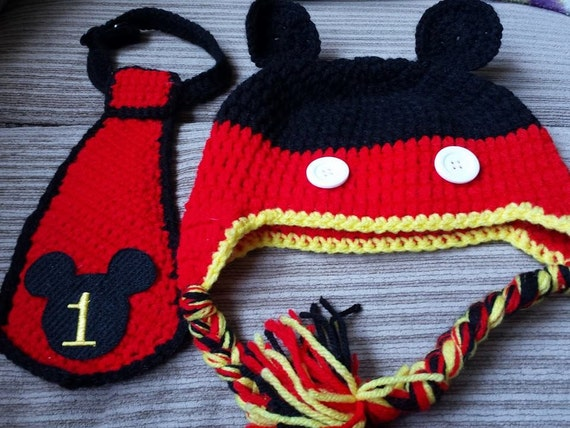 Crochet Mickey Mouse First Birthday Hat Tie Set
