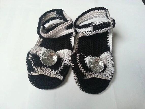 Crochet Black/Silver Baby Sandals | Etsy