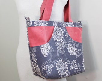 Upcycled Blue and White Floral Large Zippered Tote
