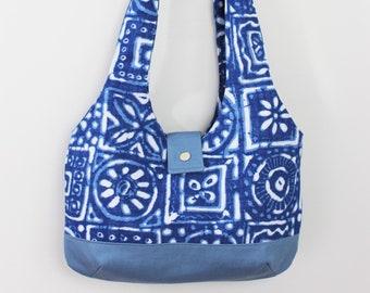 Upcycled Blue and White Patterned Hobo Shoulder Bag