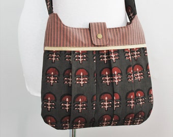 Upcycled Brown and Red Patterned Pleated Crossbody Purse