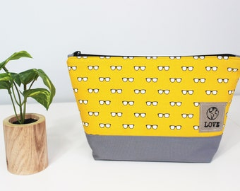 Upcycled Yellow and Gray Eyeglass Motif Zippered Make Up, Storage Bag