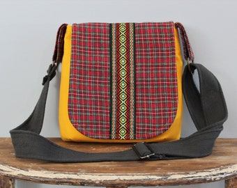 Upcycled Yellow and Red Plaid Small Messenger Purse