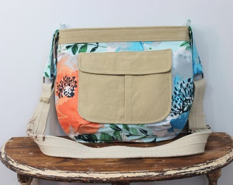 Upcycled Coral and Blue Floral Zippered Crossbody Purse