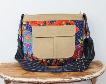 Upcycled Blue and Orange Floral Zippered Crossbody Purse