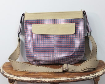Upcycled Red, White and Blue Plaid Zippered Crossbody Purse