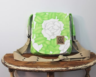 Upcycled Green and White Floral Vintage Small Messenger Bag
